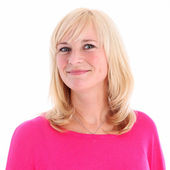 Portrait of positive blonde woman — Stock Photo