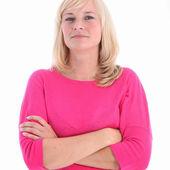 Donna attraente con braccia conserte — Foto Stock