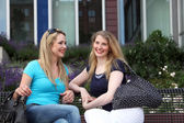 Friends meeting for a chat in town — Foto Stock