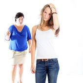 Mother admonishing her daughter — Stock Photo
