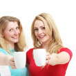 Happy women toasting with coffee — Foto de Stock