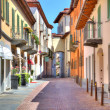 Stock Photo: Old colorful street in Alba, Northern Italy.