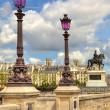 Lampposts on Pont Neuf. Paris, France. — Stock Photo
