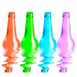 Set of red, green, blue and pink beer bottles. isolated on white — Stock Photo