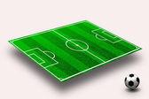 用直线和球的绿色足球场 — 图库照片