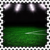 Soccer field textured background on the green field — Stockfoto