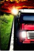 Painted ilustration of truck on asphalt road under storm sky wit — Stock Photo