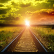 Royalty-Free Stock Photo: Old railway to sunset