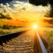 Stock Photo: Railway into the sunset