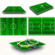 Stock Photo: Collage. Soccer field tactic table, map on perspective geometry