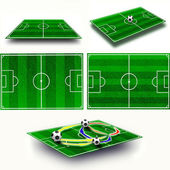 Collage. Soccer field tactic table, map on perspective geometry — Stock Photo