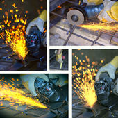 Collage of cutting metal with many sharp sparks — Stock Photo