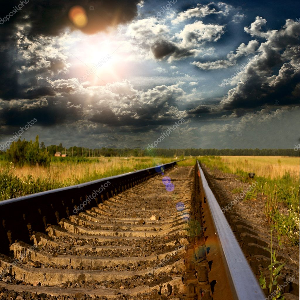 Railway into the sunset — Stock Photo #12191716