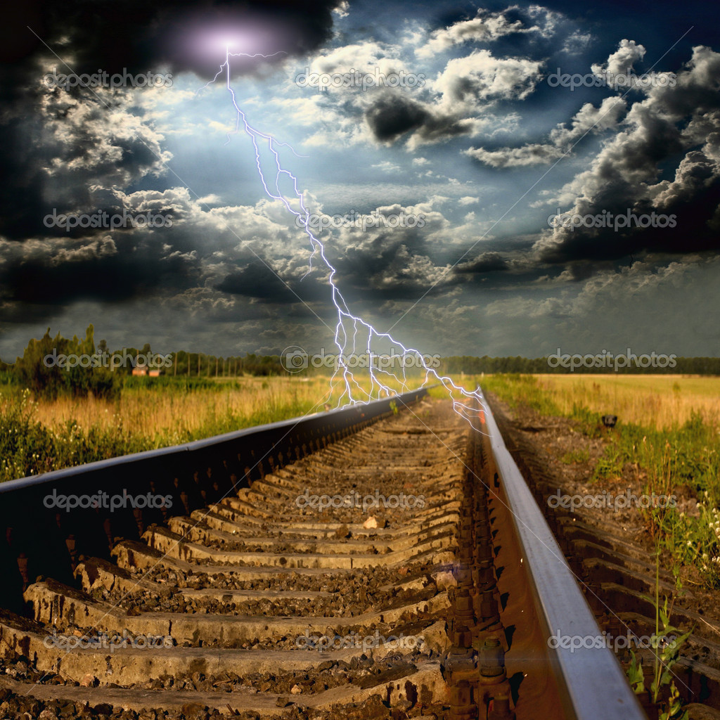 Railway in to the shtorm with lightnings — Stock Photo #12191737