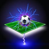 Fotbalový míč na zelené louce a blesk — Stock fotografie