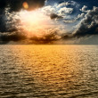 Stock Photo: Yellow Sun Set in The Middle of The Ocean