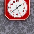 Red vintage kitchen clock — Stock Photo