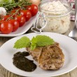 Lamb steak with coleslaw - Stock Photo