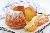 Lemon gugelhupf with icing sugar — Stock Photo
