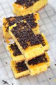Tray cake with chocolate sprinkles — Stock Photo
