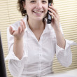 Office employee during a telephone conversation — Stok fotoğraf