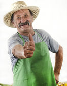 Organic farmer raises his thumb — Stock Photo