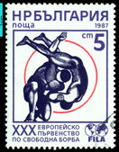 Vintage postage stamp. Freestyle Wrestling . — Stock Photo