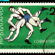 Vintage  postage stamp.  Wrestling . 1971. — Stock Photo