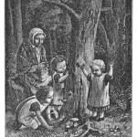 Children pick up mushrooms in the woods — Stock Photo