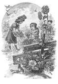 Två tjejer underhålla en trädgård — Stockfoto