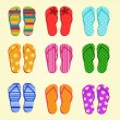 Set of vector flip flops — Stock Vector