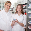 Two Pharmacists Consulting Each Other — Stock Photo