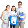Family Holding Recycle Bin - Stock Photo