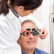 Man Wearing Trial Frames For Eye Treatment — Stock Photo