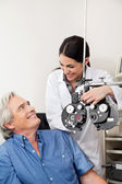 Optometrist And Patient Before Eye Checkup — Stock Photo