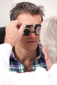 Eye Exam with Measuring Spectacles — Stock Photo