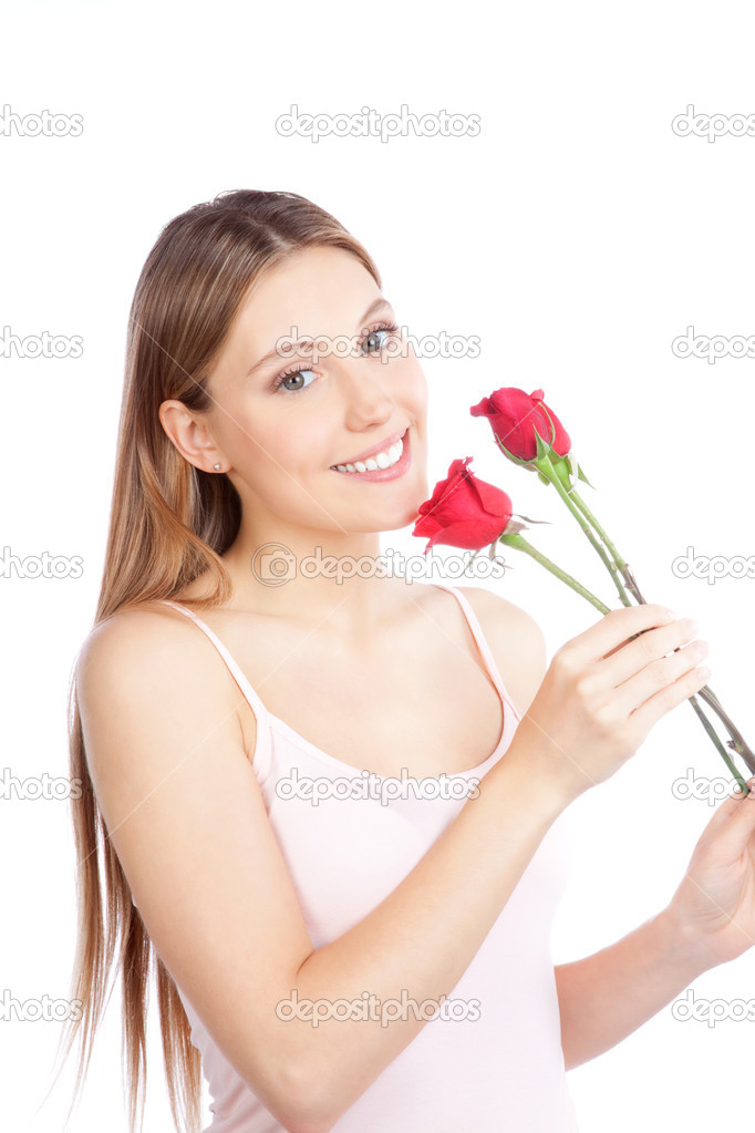 Young happy woman with red rose isolated on white background. — Stock Photo #10761193