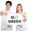 Young Couple Holding Blank Placard — Stock Photo