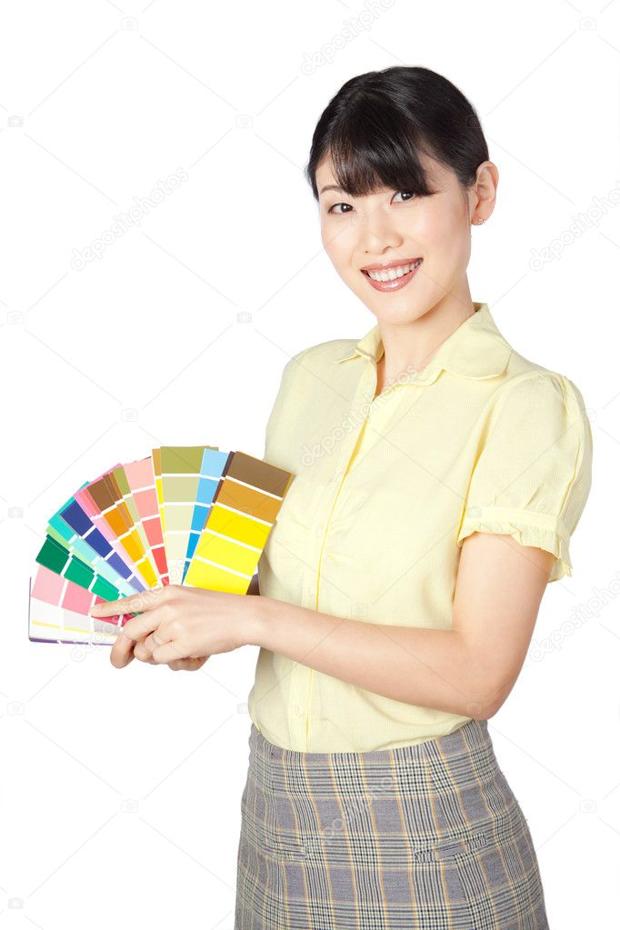 Happy young woman  showing color chart isolated on white background. — Stock Photo #11199695