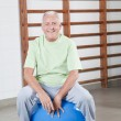 Senior Man Sits on a Fitball — Stock Photo