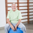 Stock Photo: Senior Man Sits on a Fitball