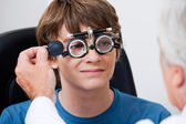 Eye Test Through Trial Frames — Stock Photo