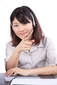 бизнес-леди носить гарнитуру — Стоковое фото