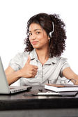 Businesswoman Wearing a Headset — Stock Photo