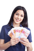 Smiling Woman Holding Euro Note — Stock Photo