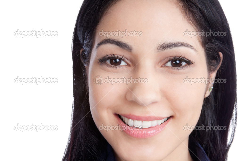 Portrait of happy young woman face isolated on white background. — Stock Photo #11202260