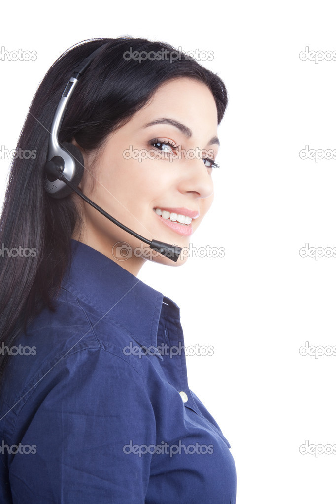 Happy businesswoman wearing a headset isolated on white background.  Stock Photo #11202817