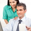 Stock Photo: Businessman And Businesswoman At Work