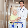 Doctor and Woman with Zimmerframe — Stock Photo