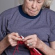 Senior Woman Knitting - Foto de Stock